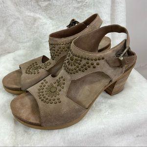 Dansko Deandra taupe shimmer suede studded block heel sandals. Size 40/9.5/10